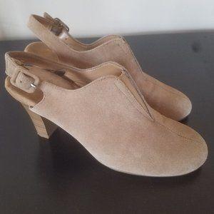 Aerosoles Heelrest Tan Suede Slingback Heels